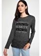 DeFacto Baskılı Uzun Kollu T-shirt Antrasit